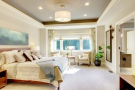 Painted taupe recessed ceiling