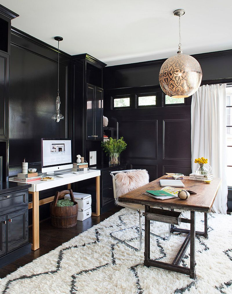 30 black and white home offices that leave you spellbound. Black Bedroom Furniture Sets. Home Design Ideas