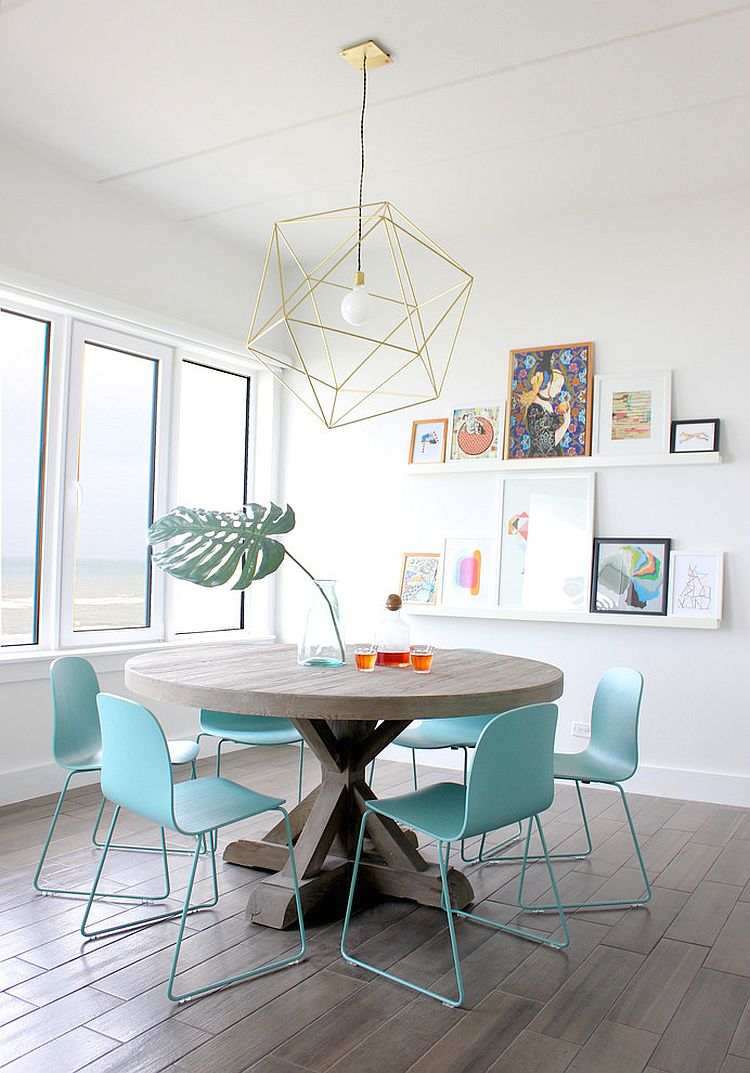 Pendant light brings geometric beauty to the classy dining room [Design: Sarah Stacey Interior Design]