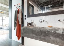 Penny tiled backsplash and concrete sink for the industrial bathroom