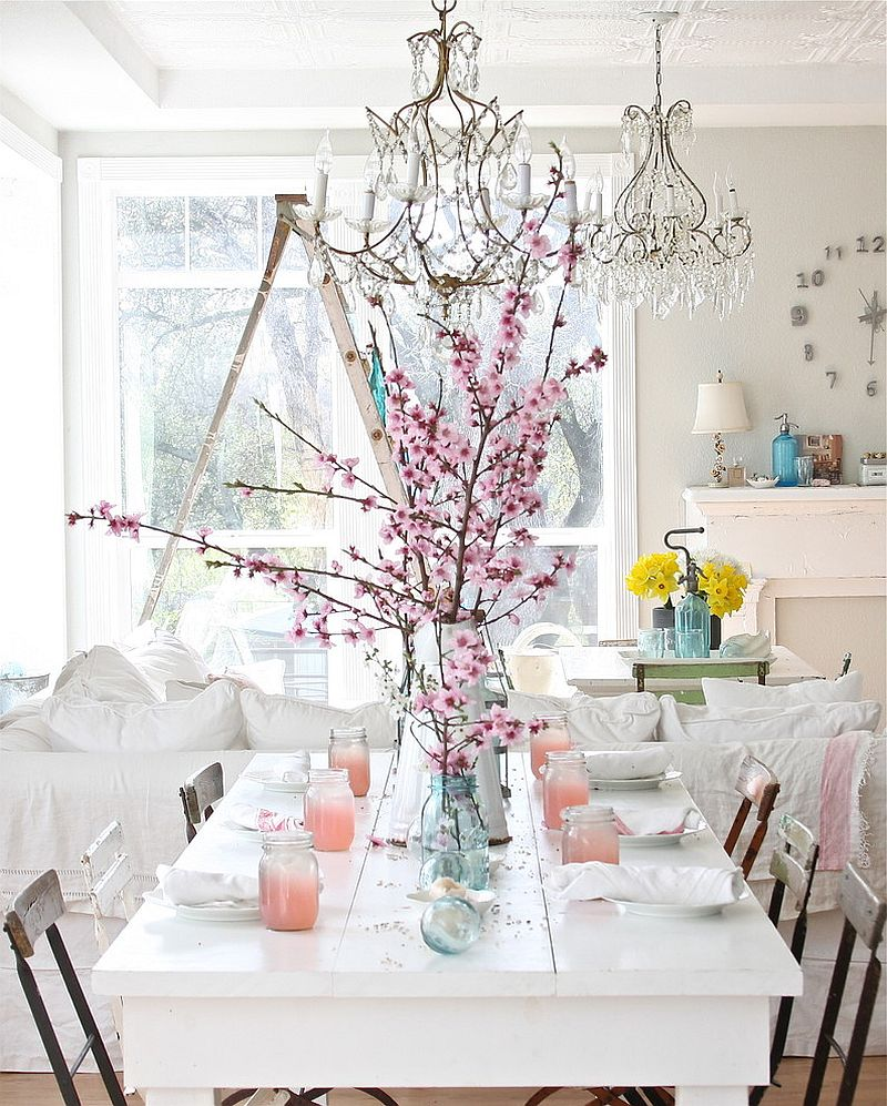 Perfect use of shabby elements, white and color in the dining room [From: Dreamy Whites]