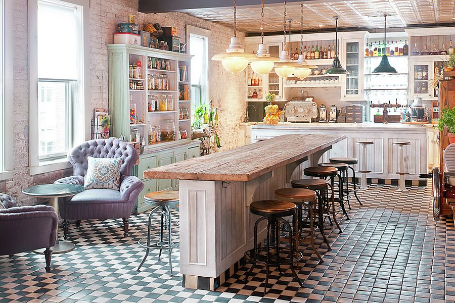 Perfect way to design an inviting and exquisite shabby chic kitchen bar [From: Soho House New York]