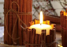 Pillar candles wrapped in cinnamon sticks 217x155 17 Easy DIY Holiday Candle Holders