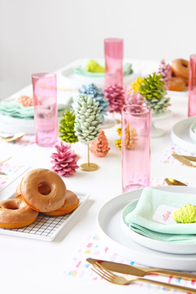 Pine cone table runner from A Subtle Revelery