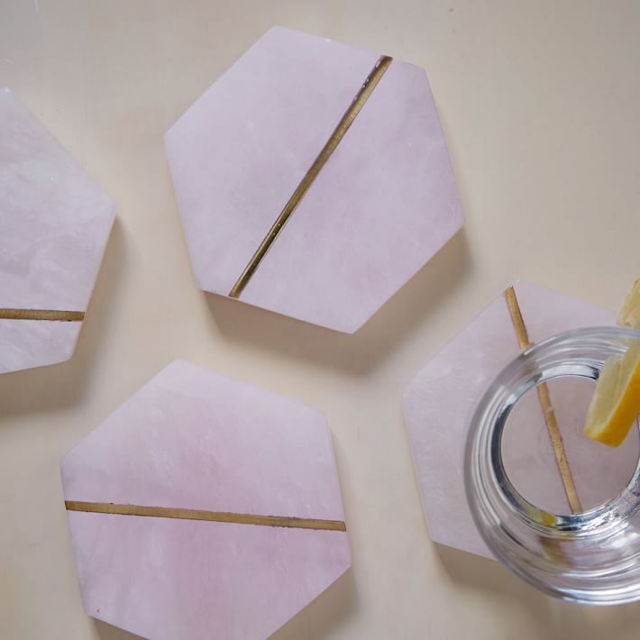 Pink alabaster coasters from West Elm