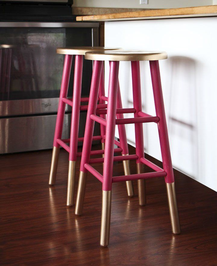 Pink and gold painted bar stools