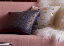 Pink couch and pillows from CB2