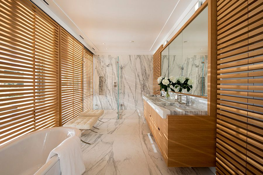 Polished marble in the bathroom adds an air of luxury