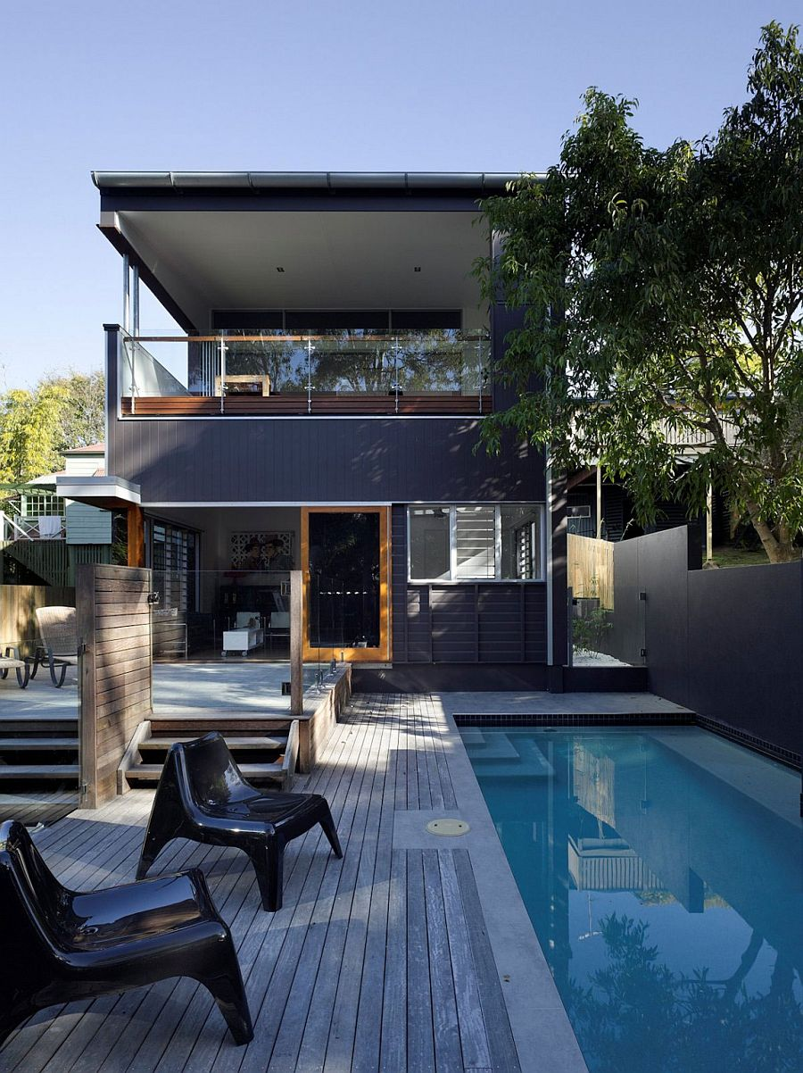Pool deck and a relaxing outdoor lounge for the space-savvy suburban home