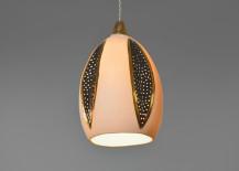 Porcelain pendant light with black leaf designs