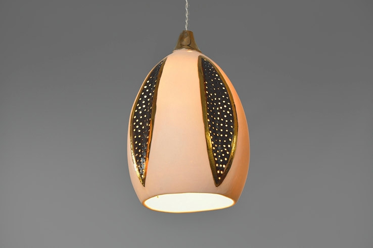 Porcelain pendant light with black leaf designs