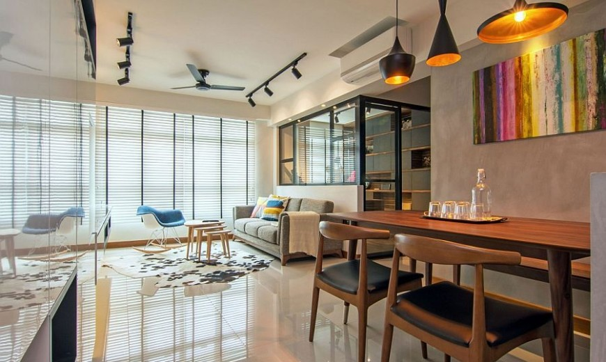 Home in Singapore: Space-Savvy Interior Laced with Industrial Elements