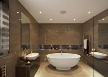 Recessed ceiling lights in a modern bathroom
