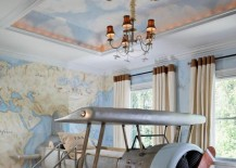 Recessed ceiling with a cloud mural
