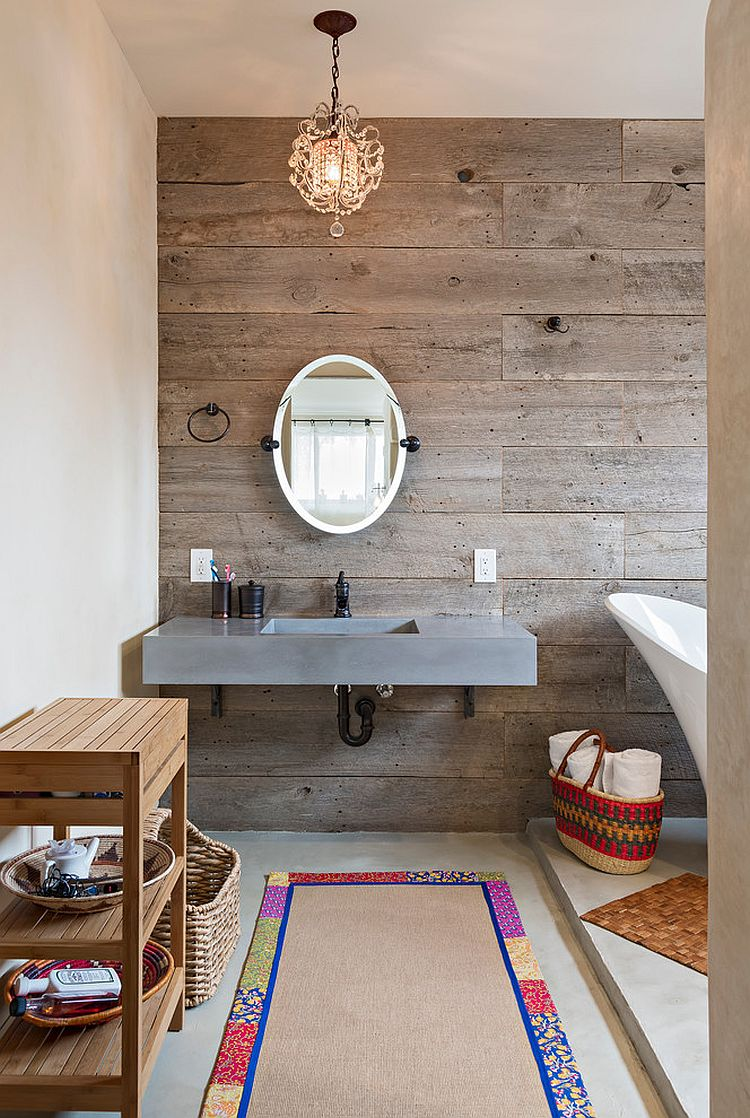Reclaimed timber wall brings inviting warmth to the modern bathroom [From: Dane Cronin Photography]