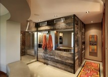 Reclaimed timber walls create a fabulous modern rustic bathroom 217x155 Salvaged Style: 10 Ways to Transform Your Bathroom with Reclaimed Wood