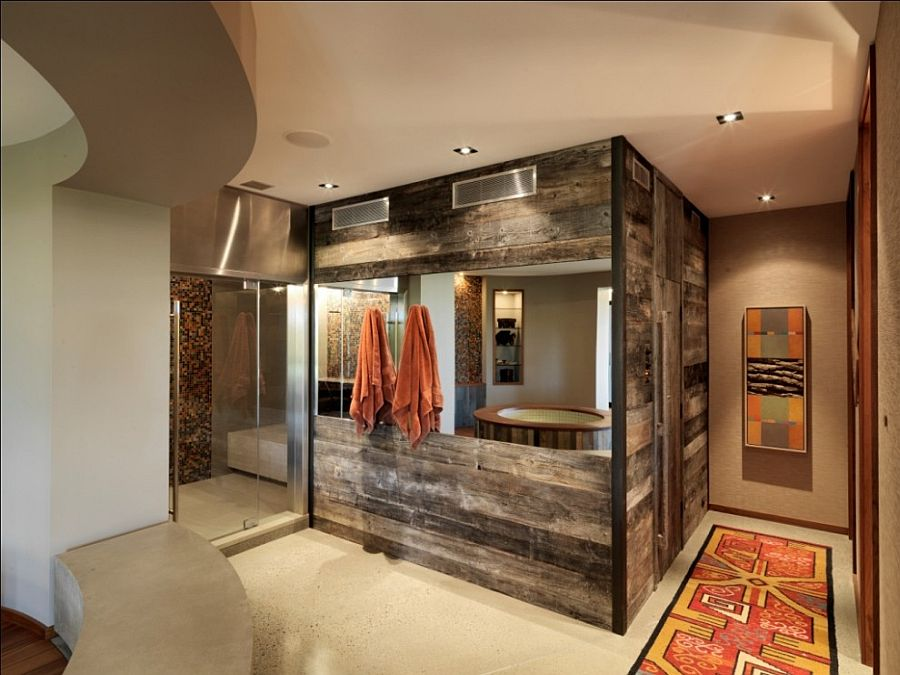 Reclaimed timber walls create a fabulous modern-rustic bathroom [Design: Birdseye Design]