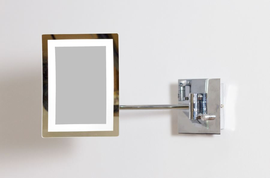 Rectangular wall mirror with LED lighting