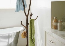 Recycled metal branch coat tree in bathroom 217x155 15 Cool Coat Racks That Really Branch Out