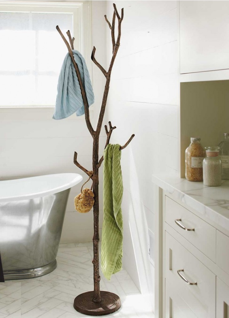 Bronze tree coat rach in bathroom from VivaTerra