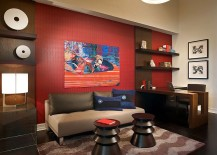 Red accent wall in the contemporary home office