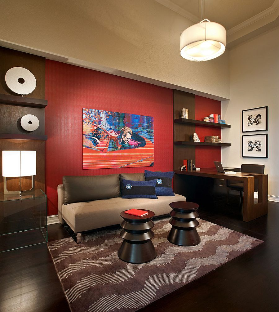 20 home offices that turn to red for energy and excitement view in gallery red accent wall in the contemporary home office design bg design sciox Choice Image