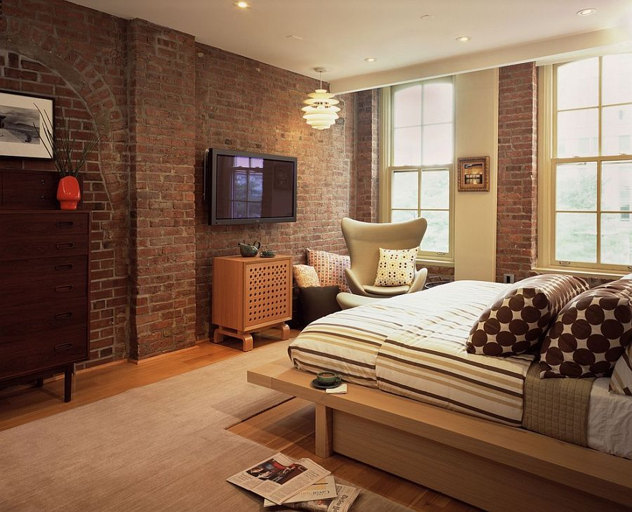 Red brick wall in the modern bedroom seems perfectly at for Bedroom w brick wall