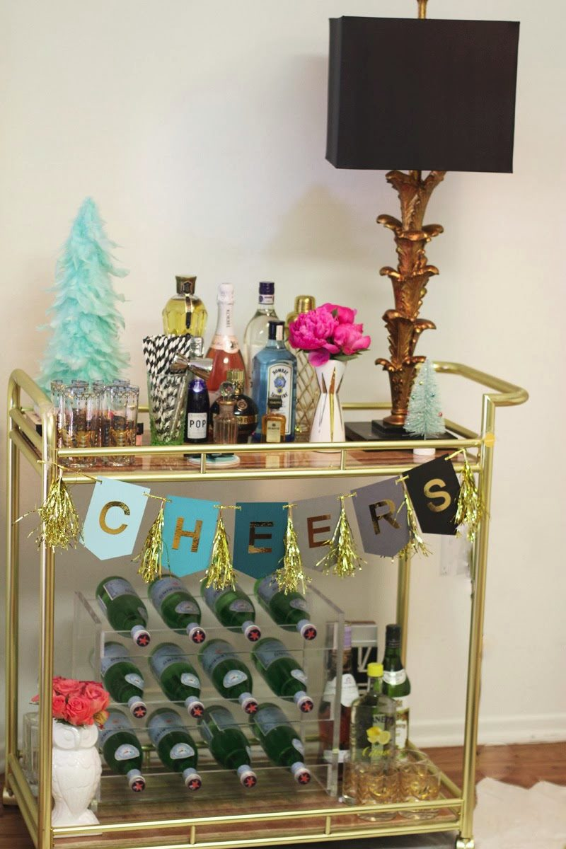 Retro glam holiday bar cart
