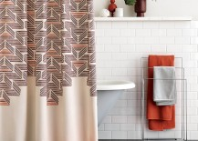 Retro style shower curtain from CB2 217x155 The Latest in Shower Curtain Trends