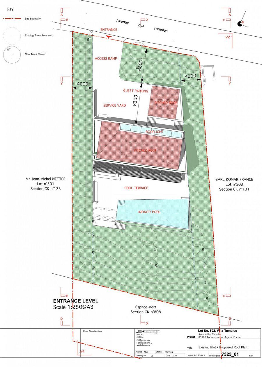 Roof Level floor plan of Villa Brash