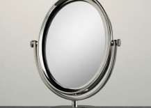Round freestanding shaving mirror from Restoration Hardware