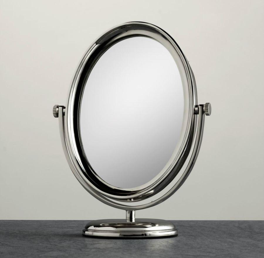 View In Gallery Round Freestanding Shaving Mirror From Restoration Hardware