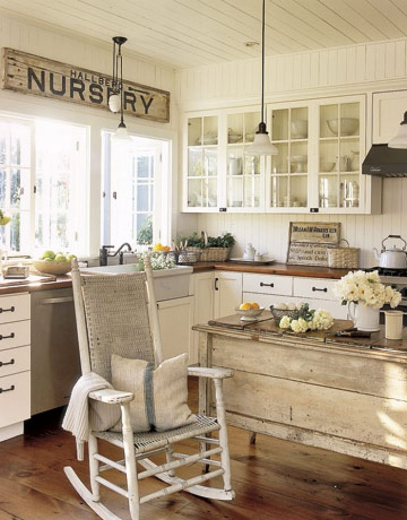 Rustic and farmhouse styles with a shabby chic twist in for Farm style kitchen decor