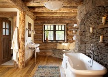 Rustic bathroom in stone and wood with a snug corner bench 217x155 30 Exquisite and Inspired Bathrooms with Stone Walls