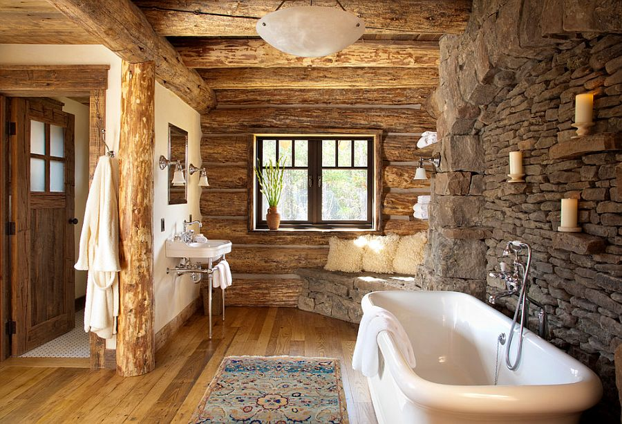 Rustic bathroom in stone and wood with a snug corner bench [Design: Pearson Design Group]