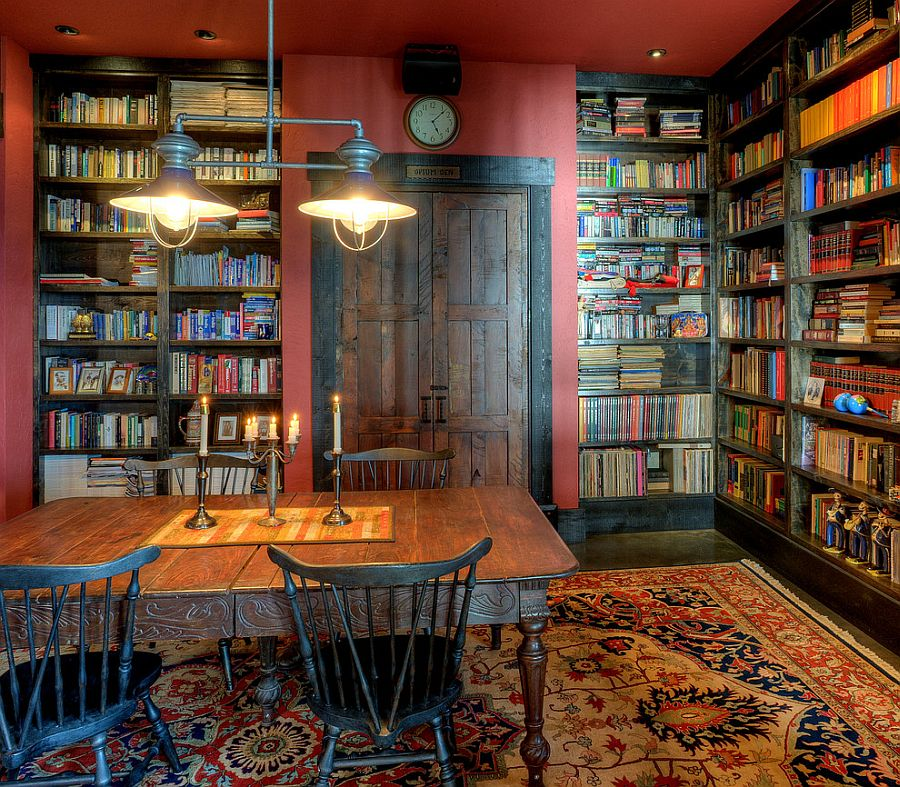 Rustic home office and library rolled into one