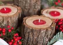 Rustic wood candle holders with red tea lights 217x155 17 Easy DIY Holiday Candle Holders