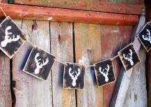 Rustic wood reindeer banner
