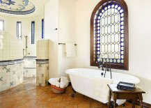 Saltillo-tile-in-the-bathroom-brings-warmth-to-the-modern-Mediterranean-setting-217x155