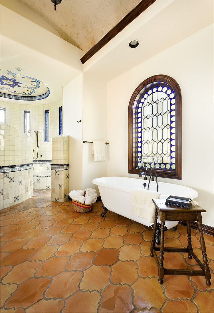 20 interiors that embrace the warm rustic beauty of for Spanish style bathroom