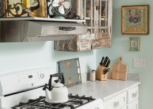 Salvaged cabinets and antique finds for the smart, shabby chic kitchen
