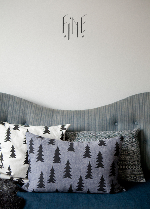 Scandinavian pine tree pillows in different colors