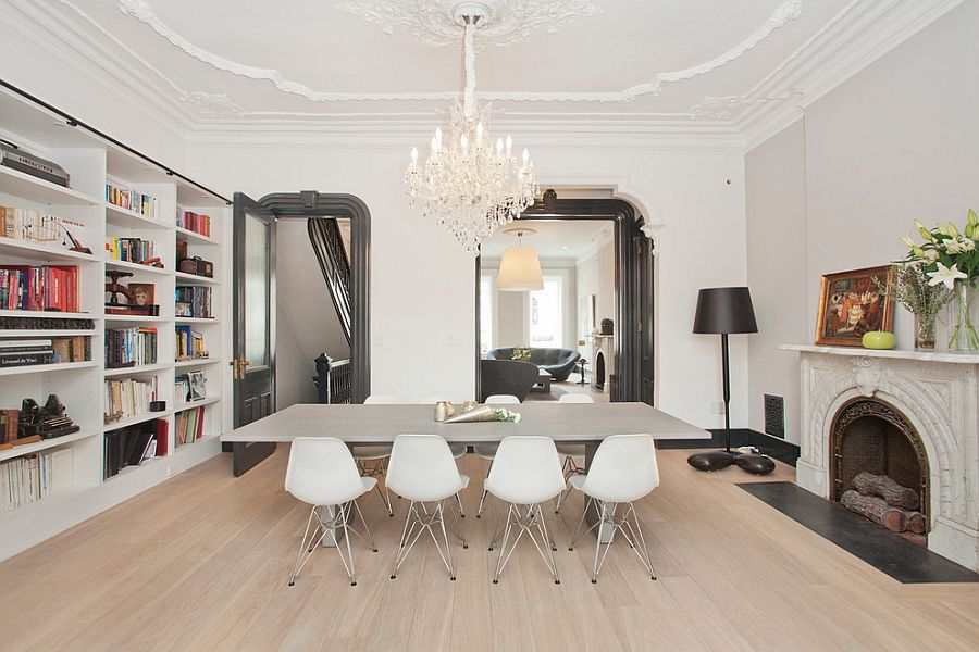 Scandinavian style dining room and home library [Design: Jensen C. Vasil Architect]