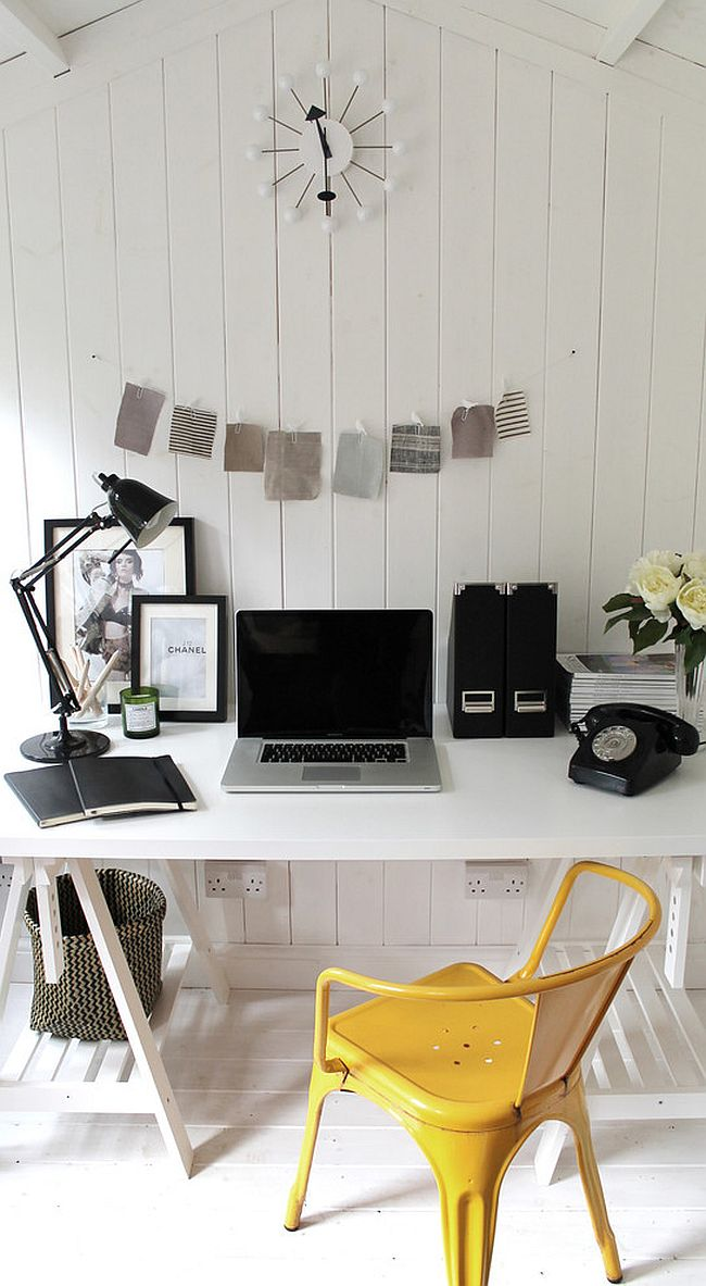 Scandinavian style home office with a dash of yellow! [Design: Owl Design]