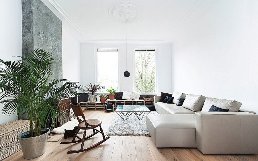 Scandinavian style living room of Dutch apartment in white Industrial Chic: Contemporary Space Conscious Dutch Apartment Renovation