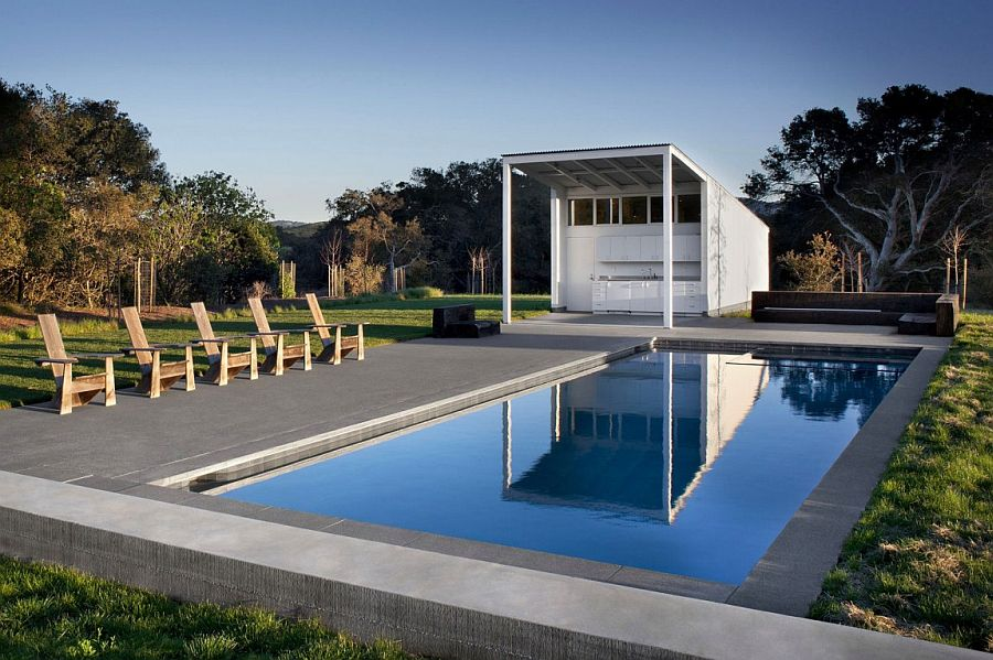 Serene pool area and garden of the Ranch home in Chileno Valley