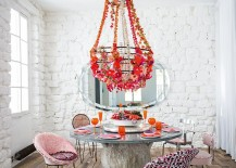 Shabby chic coupled with cool eclectic brilliance in the dining room