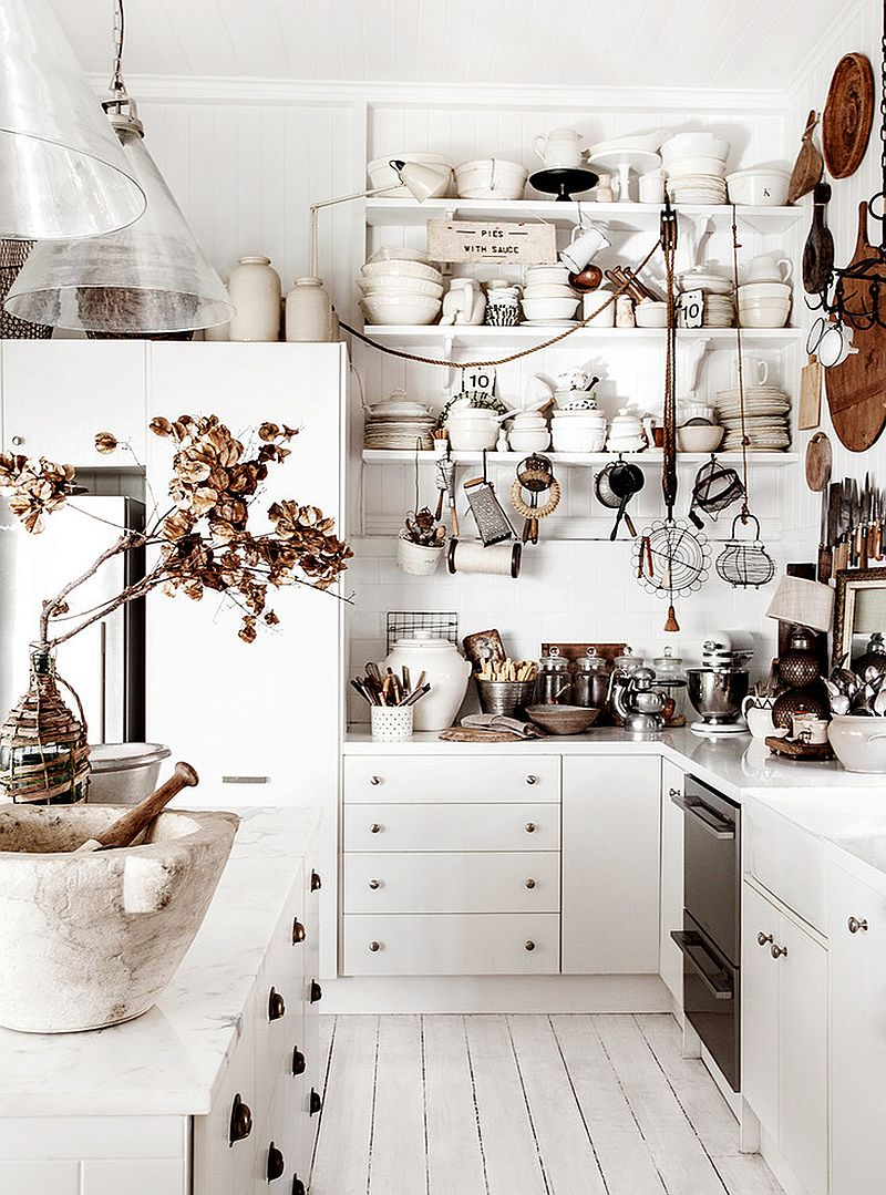 Shabby chic kitchen celebrates white [Design: Kara Rosenlund]