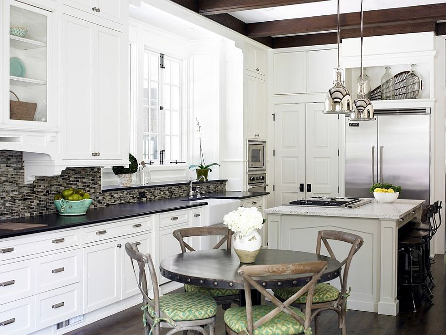 Shabby chic kitchen with French flavor and industrial overtones [Design: Brian Watford]