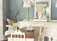Shale blue from Ralph Lauren in the shabby chic dining space [From: Kasey Buick]